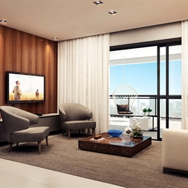 Perspectiva Ilustrada do Living - Apartamento 153M²